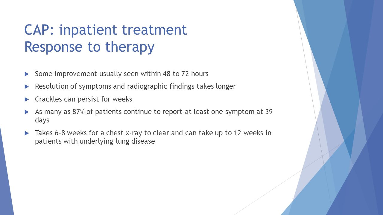 CAP: inpatient treatment Response to therapy