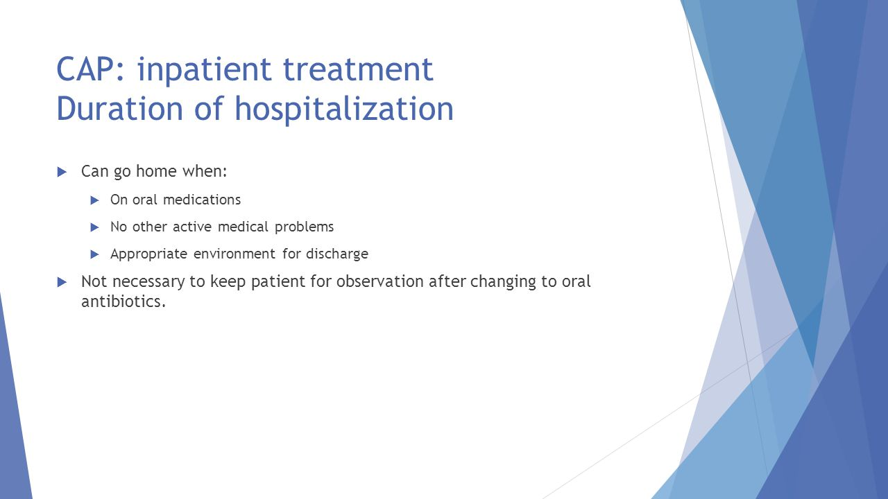 CAP: inpatient treatment Duration of hospitalization
