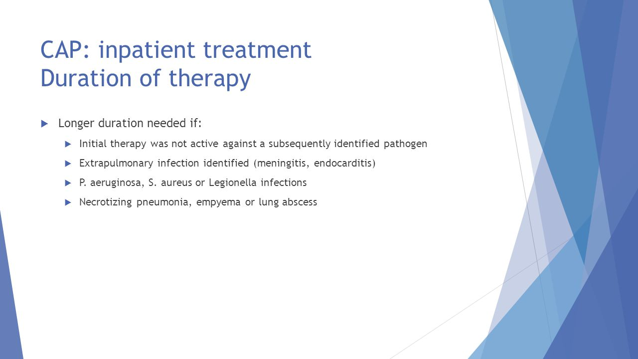 CAP: inpatient treatment Duration of therapy