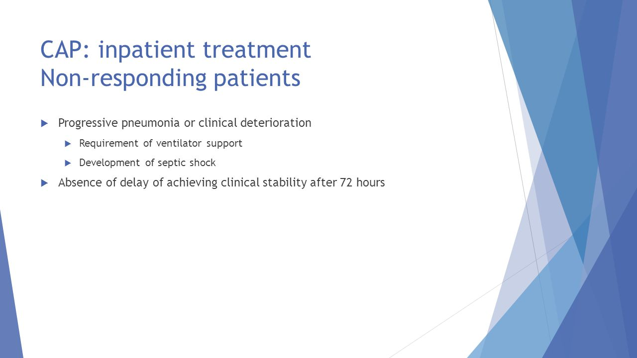 CAP: inpatient treatment Non-responding patients