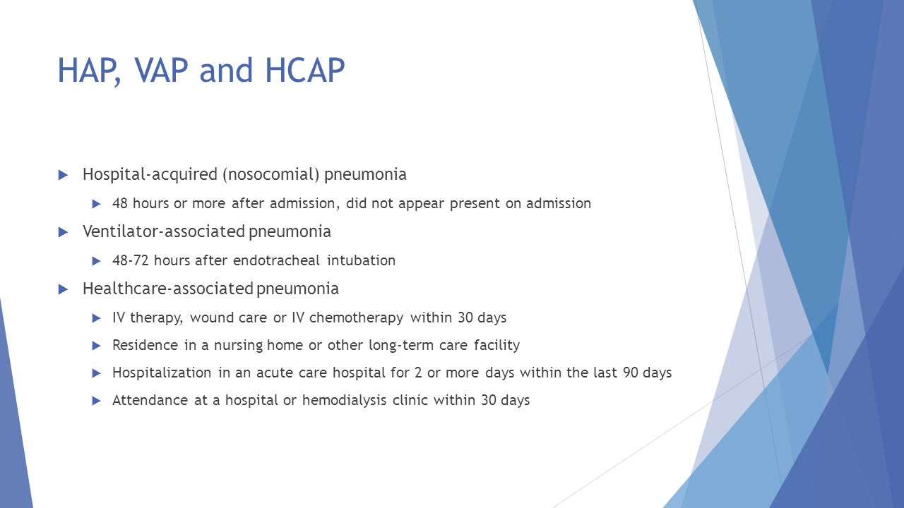 HAP, VAP and HCAP Hospital-acquired (nosocomial) pneumonia