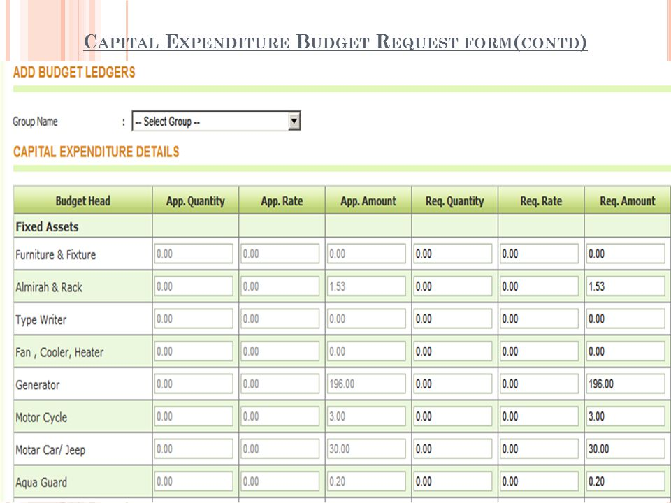 Capital budget request