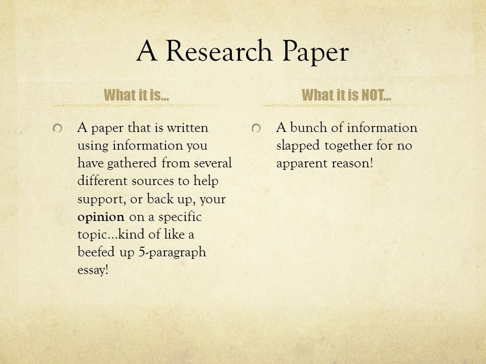 A Research Paper What it is… What it is NOT…