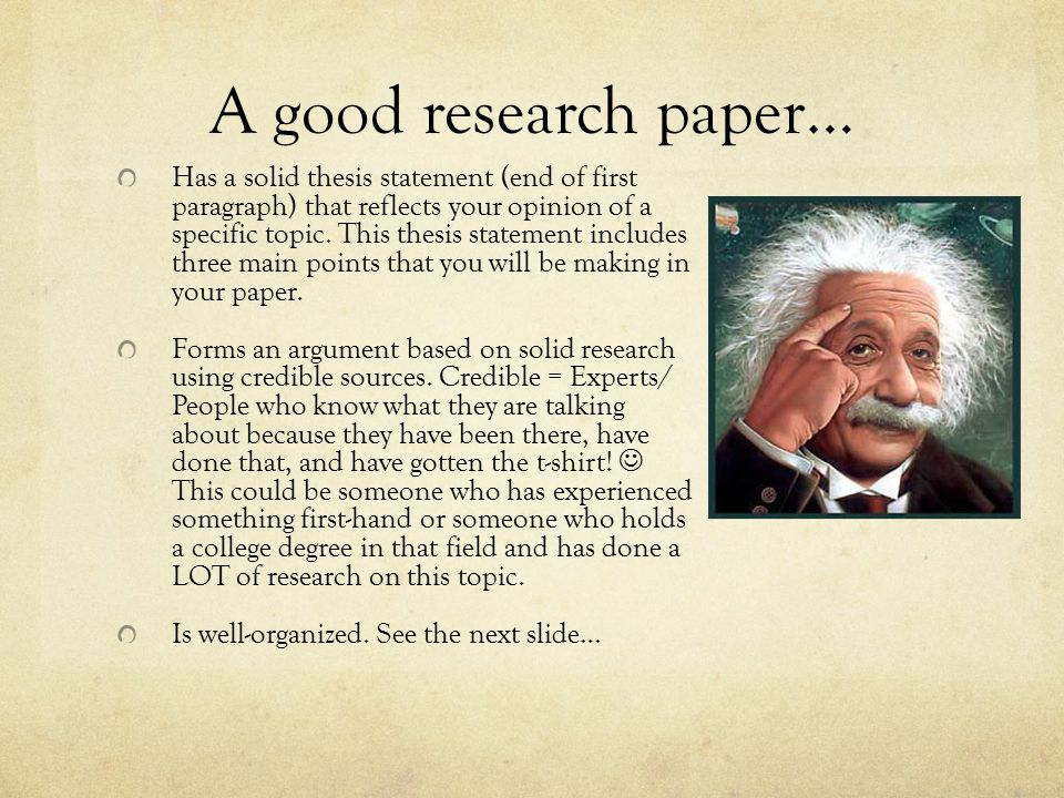 A good research paper…
