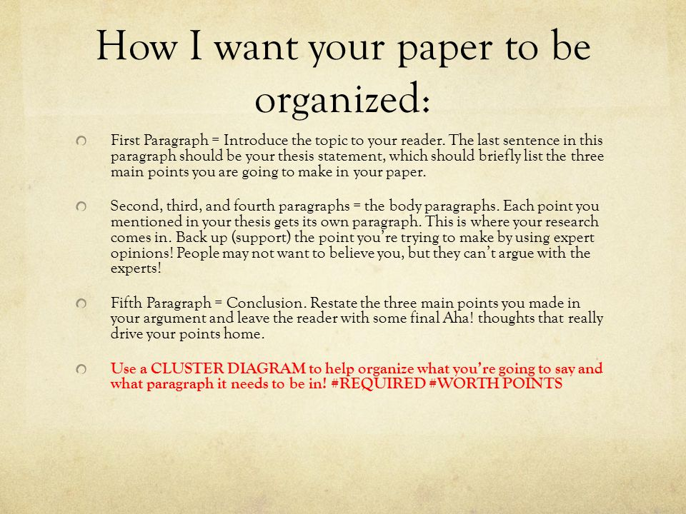 How I want your paper to be organized: