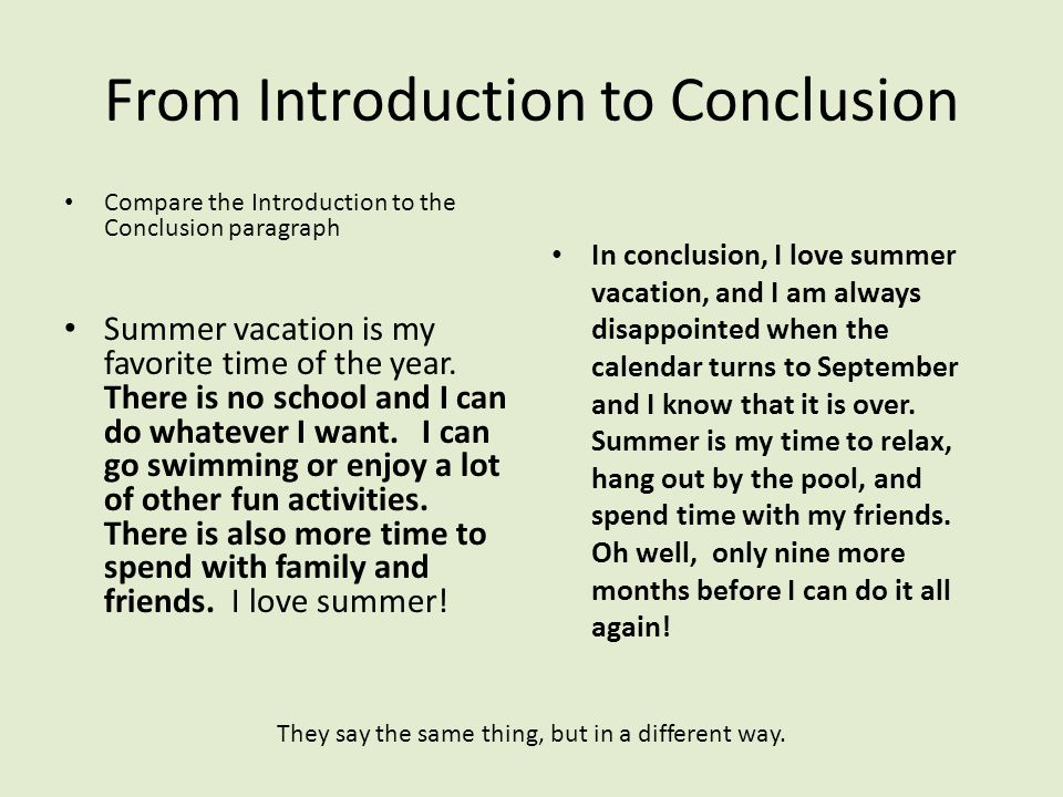 conclusion of summer vacation essay My summer vacation essay the dream summer holiday of every individual merely comes one time in a life-time in the summer of 2014 i had merely completed my first twelvemonth of college and my parents wanted to take me some where i'll ever retrieve for my profound work.