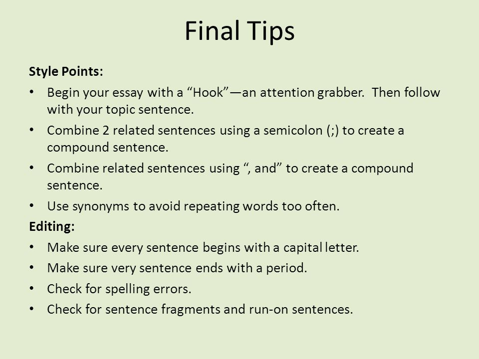Final Tips Style Points: