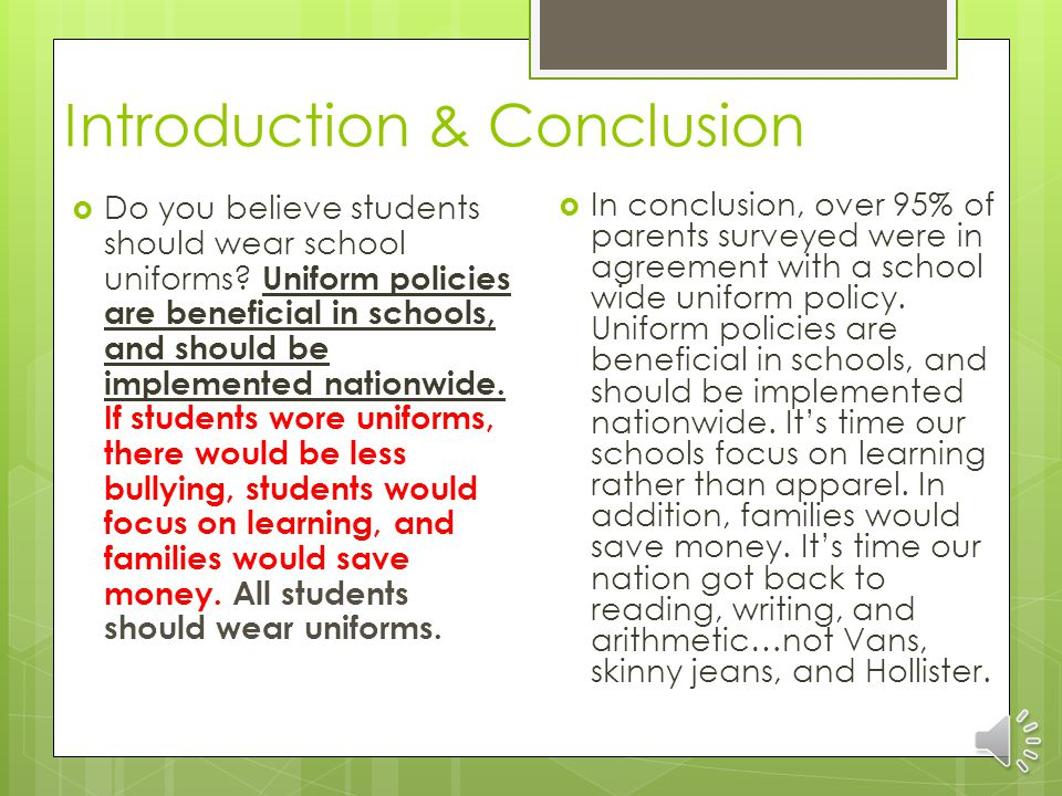 School uniforms essay introduction