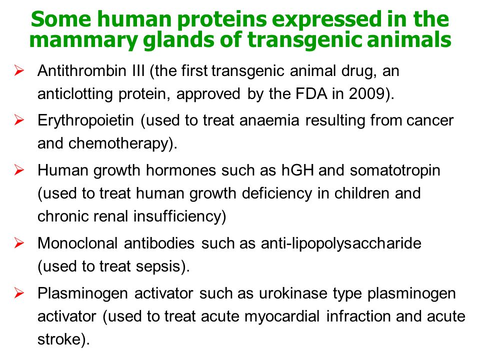 Some human proteins expressed in the mammary glands of transgenic animals