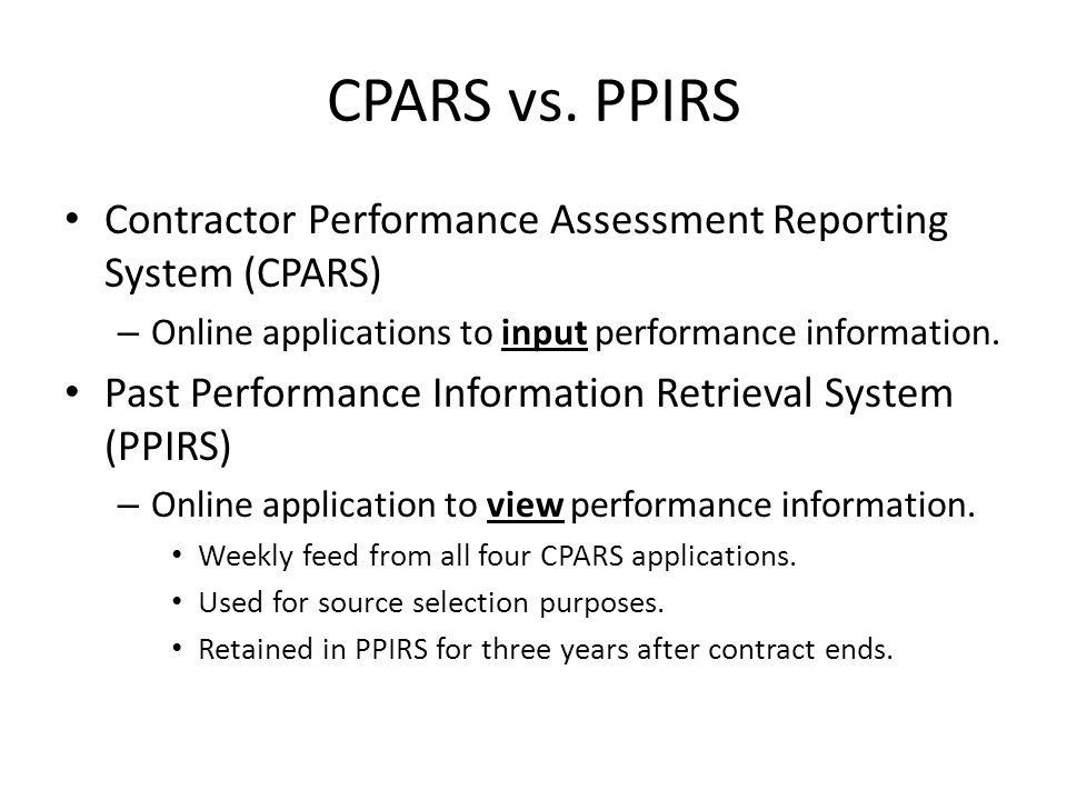 Contractor Performance Assessment Reporting System   VdyuInfo