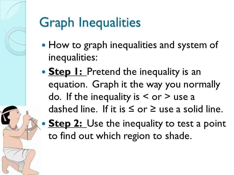 Graph Inequalities How to graph inequalities and system of inequalities: