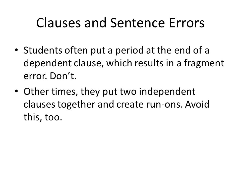 Clauses and Sentence Errors