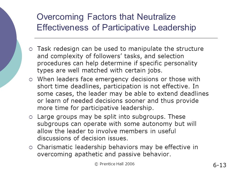 Overcoming Factors that Neutralize Effectiveness of Participative Leadership
