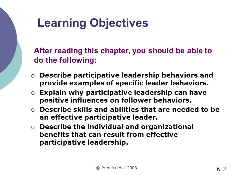 Learning Objectives After reading this chapter, you should be able to do the following: