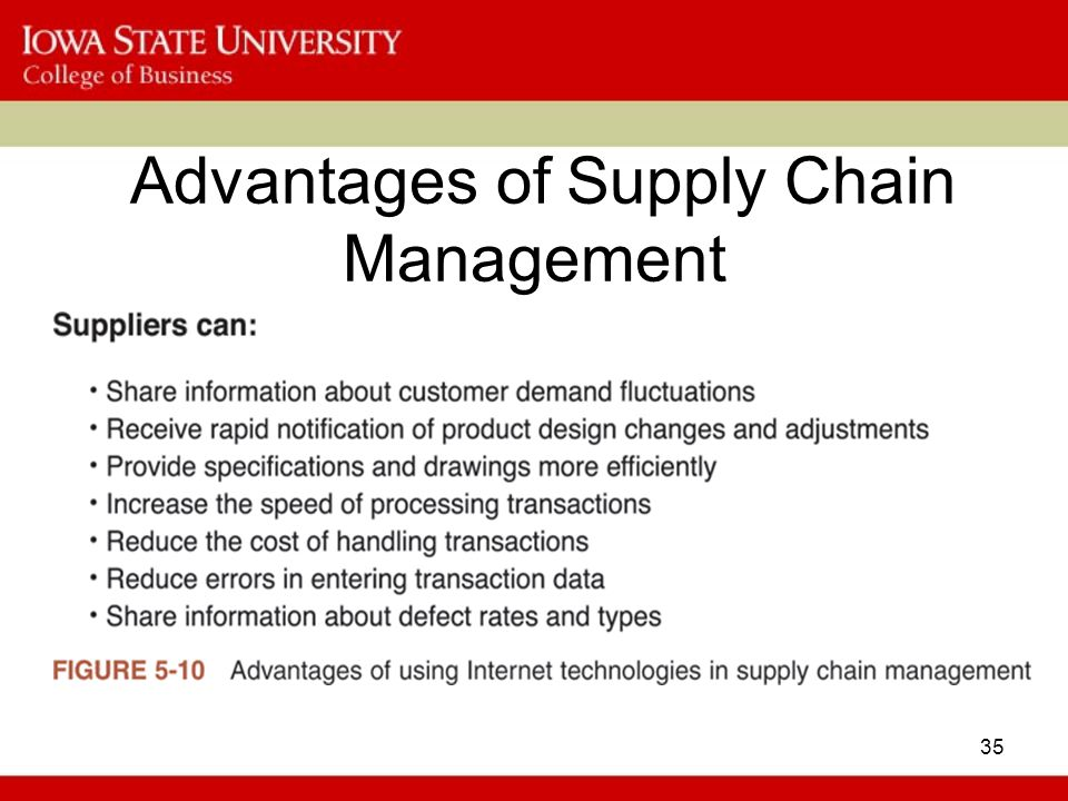 the advantages of supply chain management Supply-chain management (scm) is a technique used in businesses that helps improve the way manufacturing companies find raw components needed.