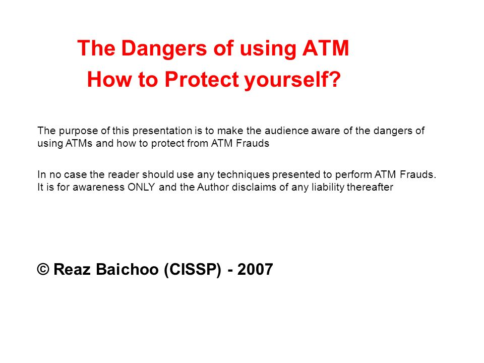 The Dangers of using ATM How to Protect yourself