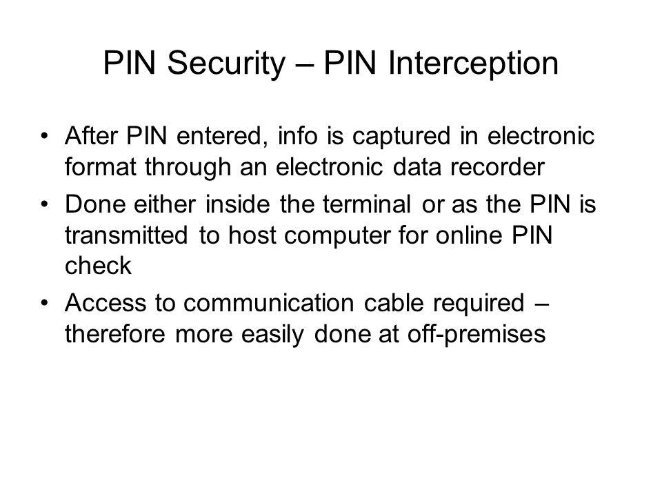 PIN Security – PIN Interception