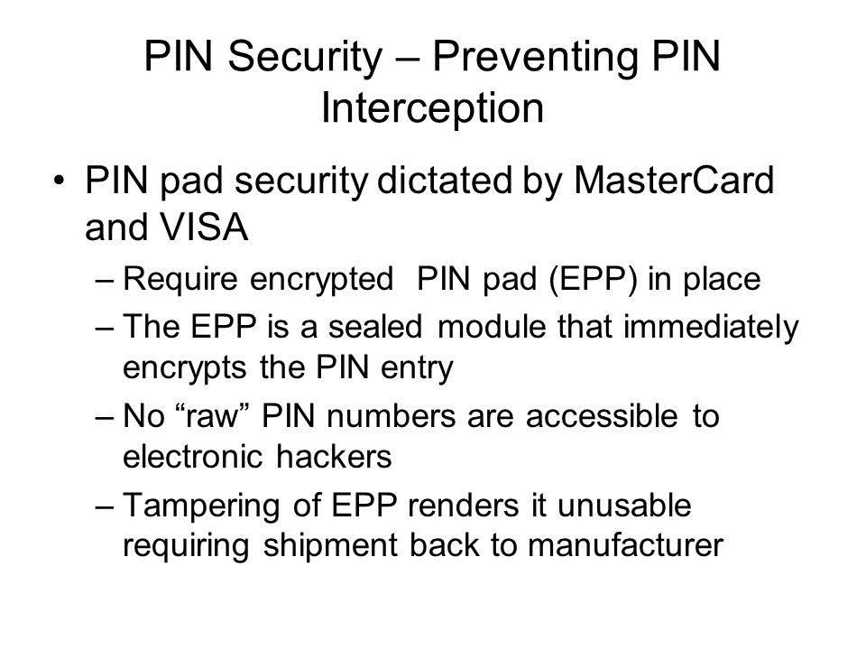 PIN Security – Preventing PIN Interception
