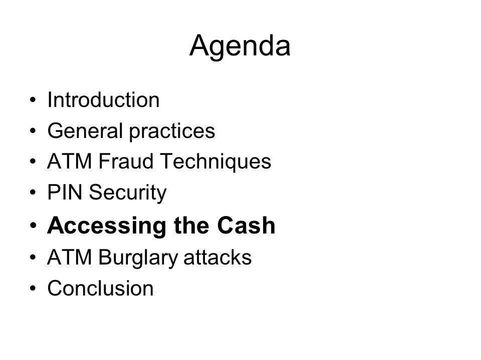 Agenda Accessing the Cash Introduction General practices