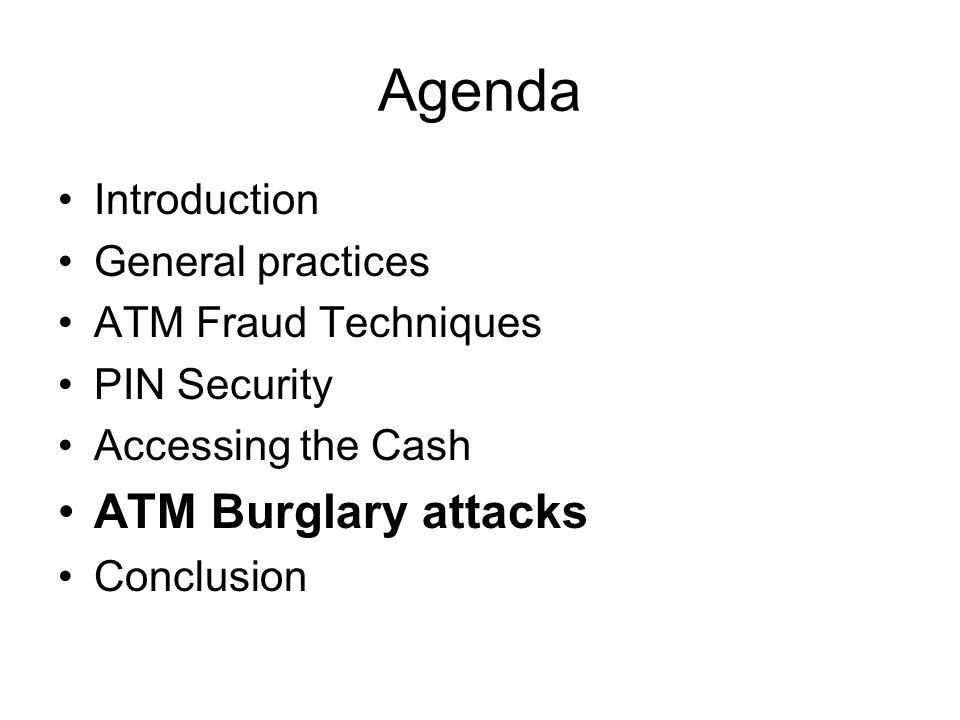 Agenda ATM Burglary attacks Introduction General practices