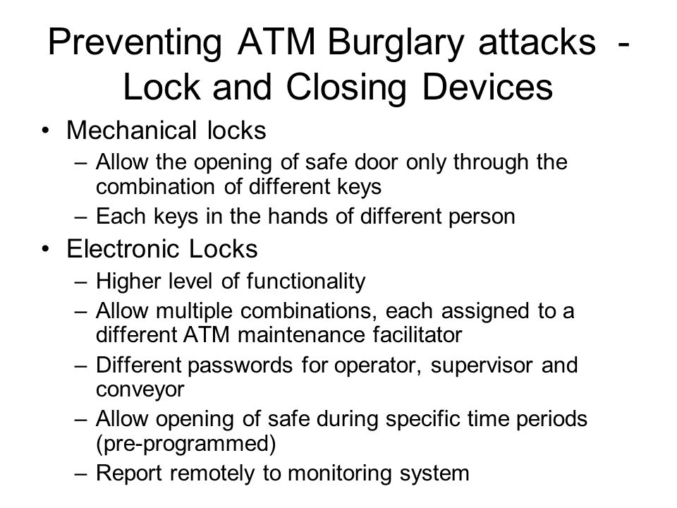 Preventing ATM Burglary attacks - Lock and Closing Devices
