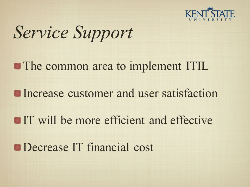 Service Support The common area to implement ITIL