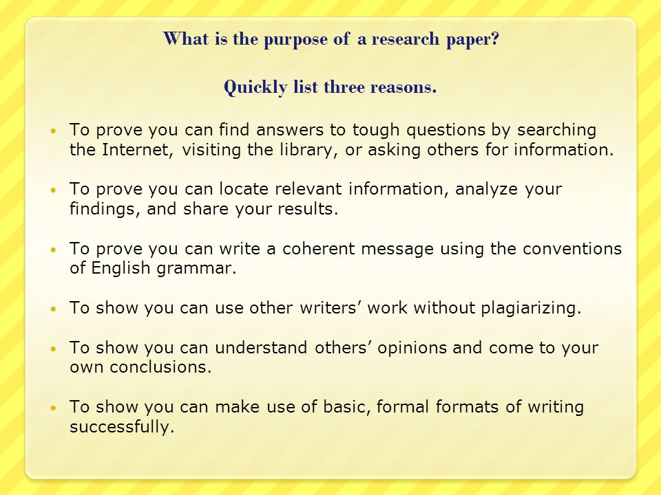 reasons for a research paper