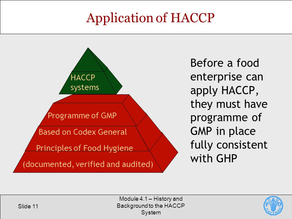 History and background to the haccp system ppt video - Procedure haccp cuisine ...