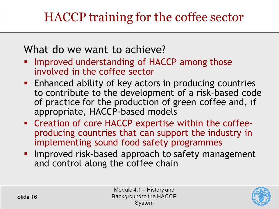 HACCP training for the coffee sector