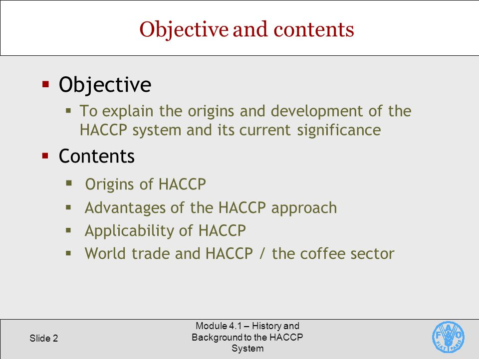Objective and contents