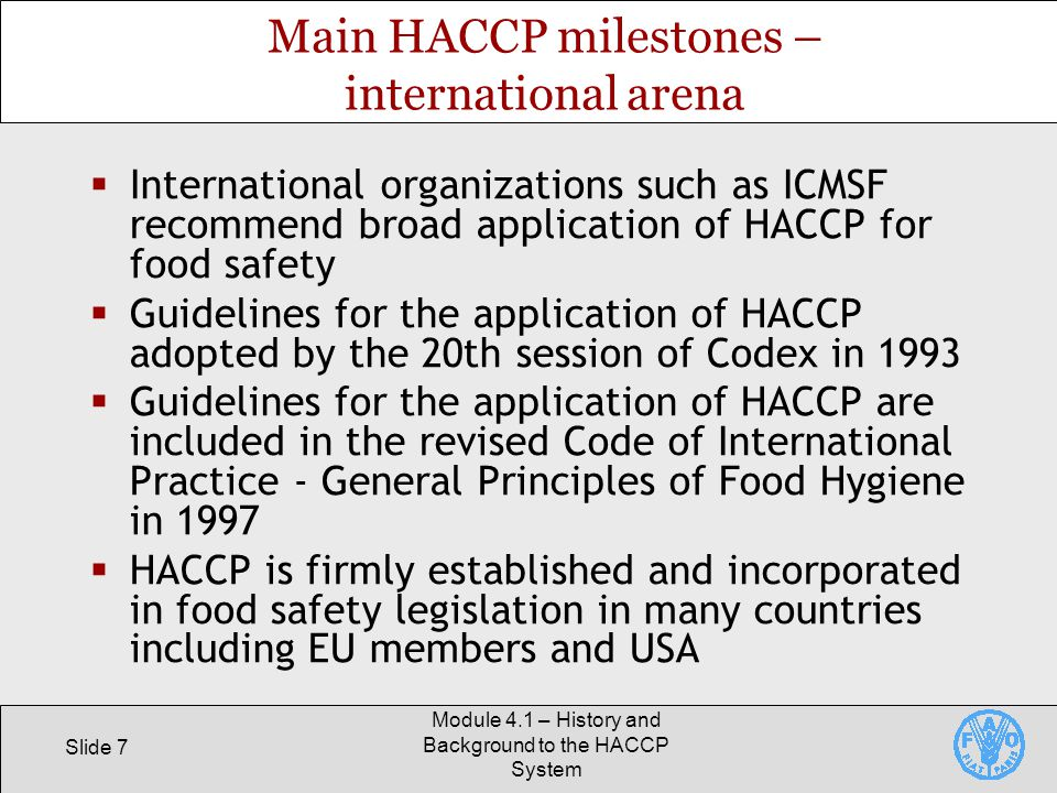 Main HACCP milestones – international arena