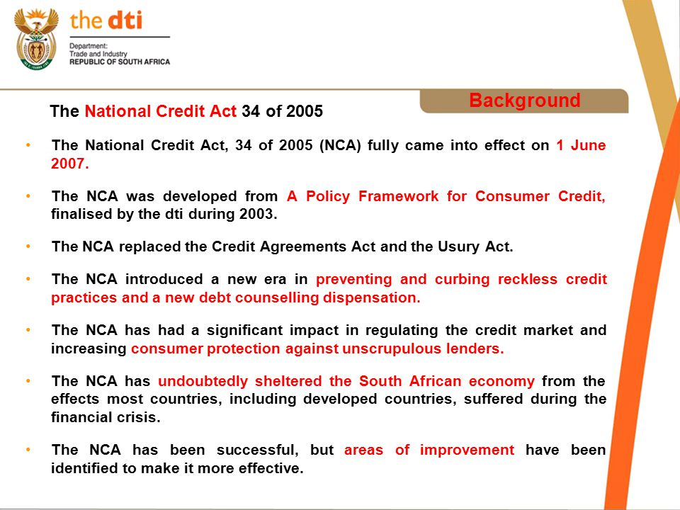 Presentation On The National Credit Amendment Bill - Ppt Download