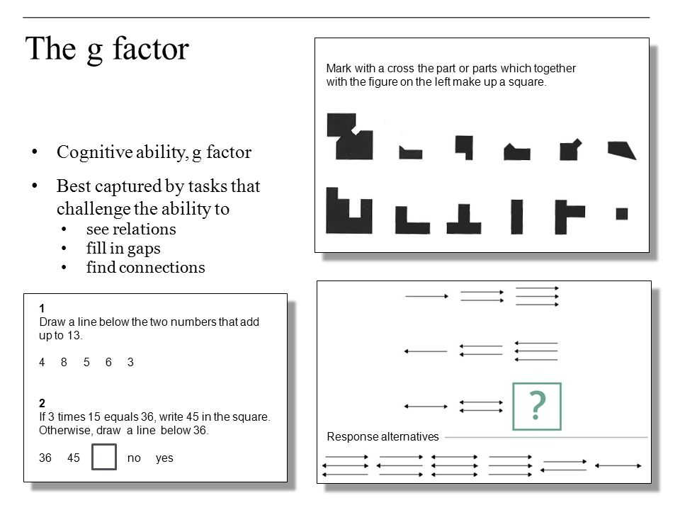 The g factor Cognitive ability, g factor