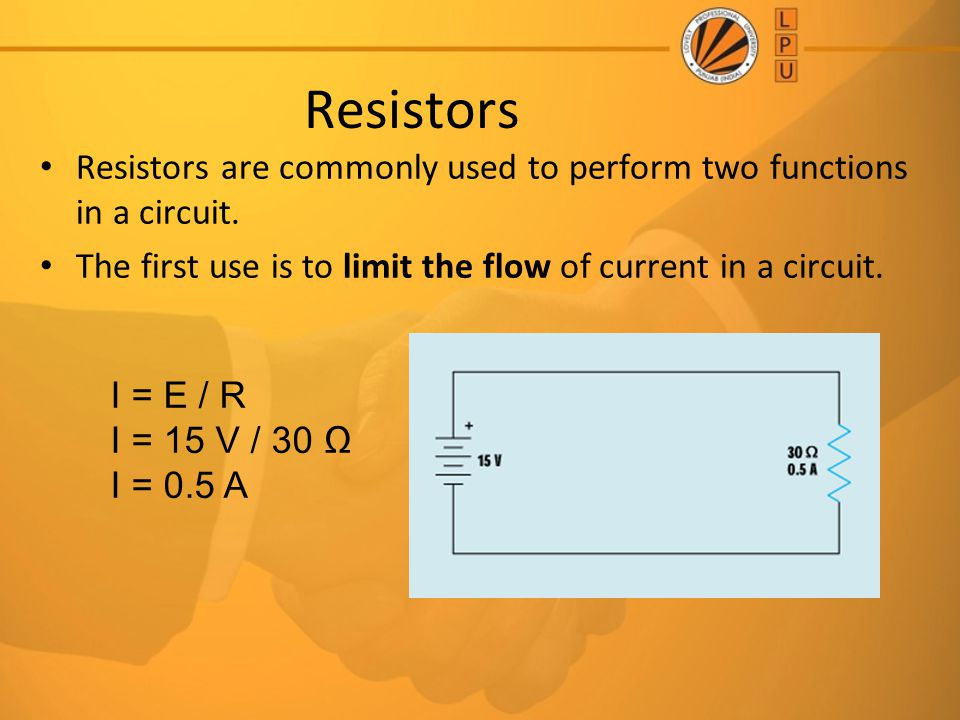 Resistors Resistors are commonly used to perform two functions in a circuit. The first use is to limit the flow of current in a circuit.