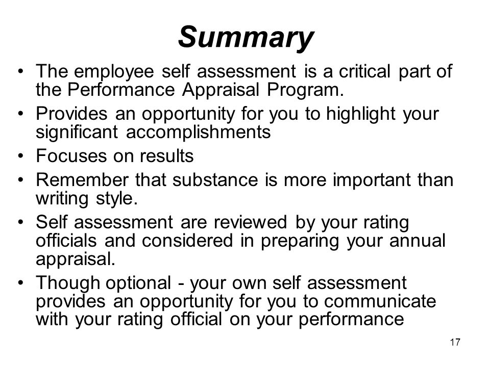Writing a self assessment summary examples