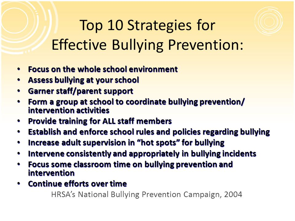 school intervention programs should be in place to prevent bullying