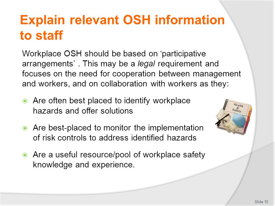 explain how to locate relevant health and safety information