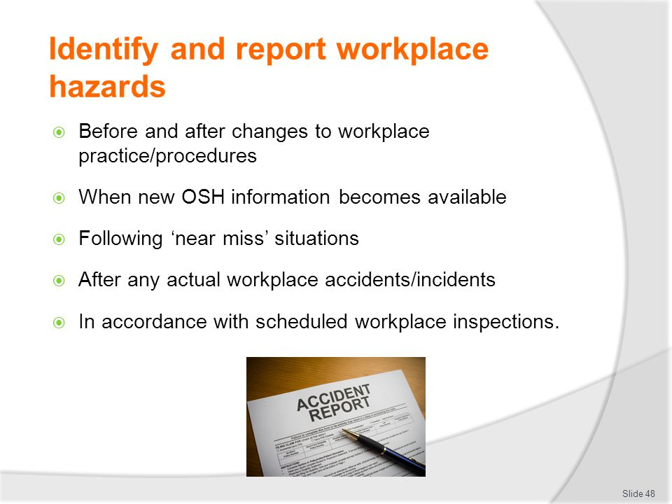 identify prevent and report workplace emergencies Guide to workplace health & safety programs  appendix b sample workplace inspection report form 25  to identify and control hazards,.