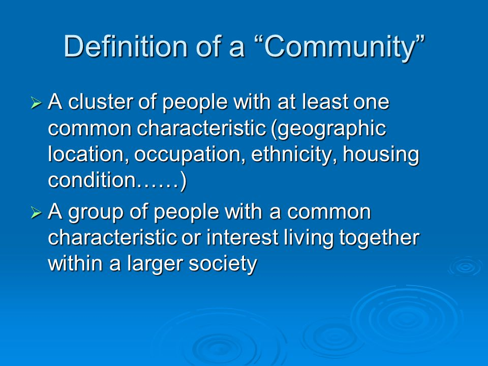 Definition of Sustainable Community
