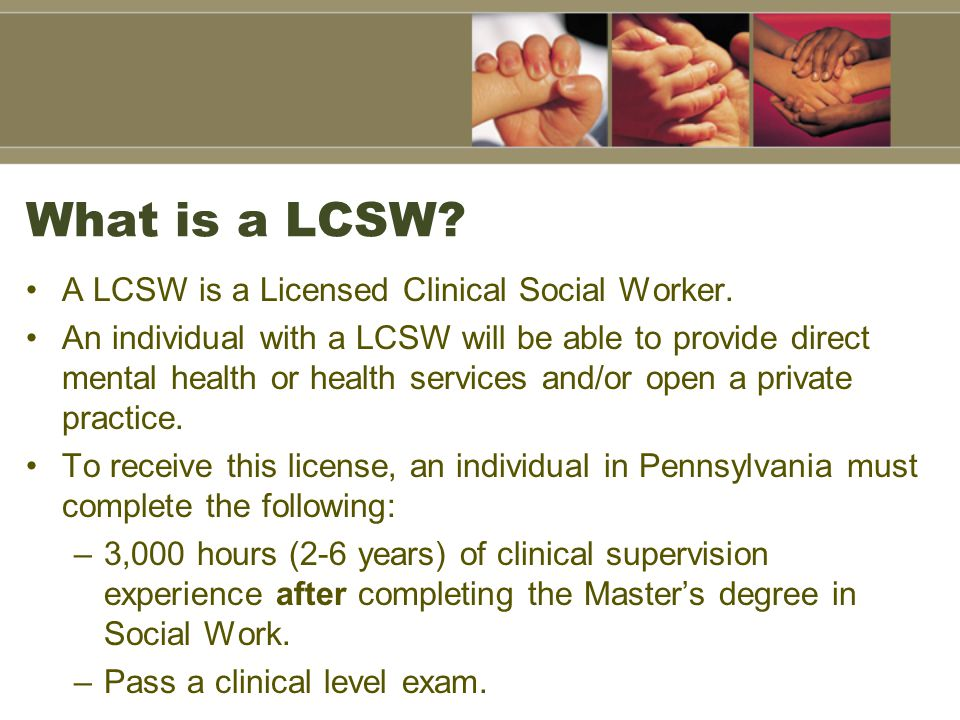 What is a LCSW A LCSW is a Licensed Clinical Social Worker.