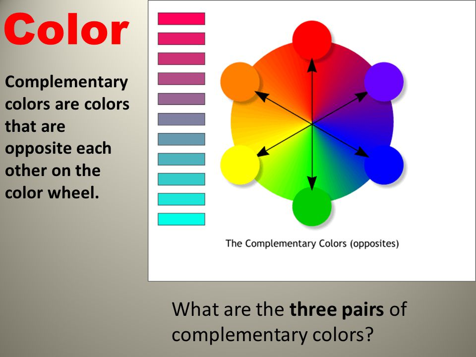 17 Color What are the three pairs of complementary ...