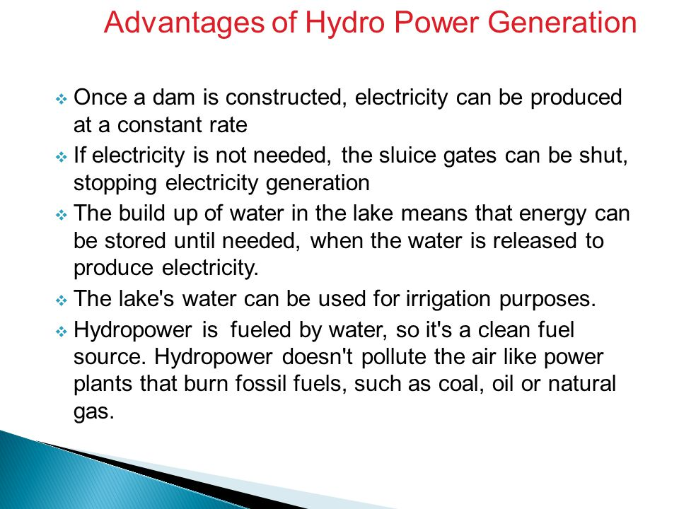 Advantages of Hydro Power Generation