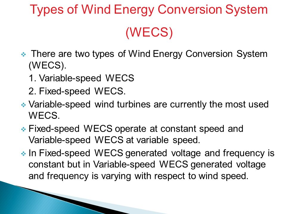 Types of Wind Energy Conversion System