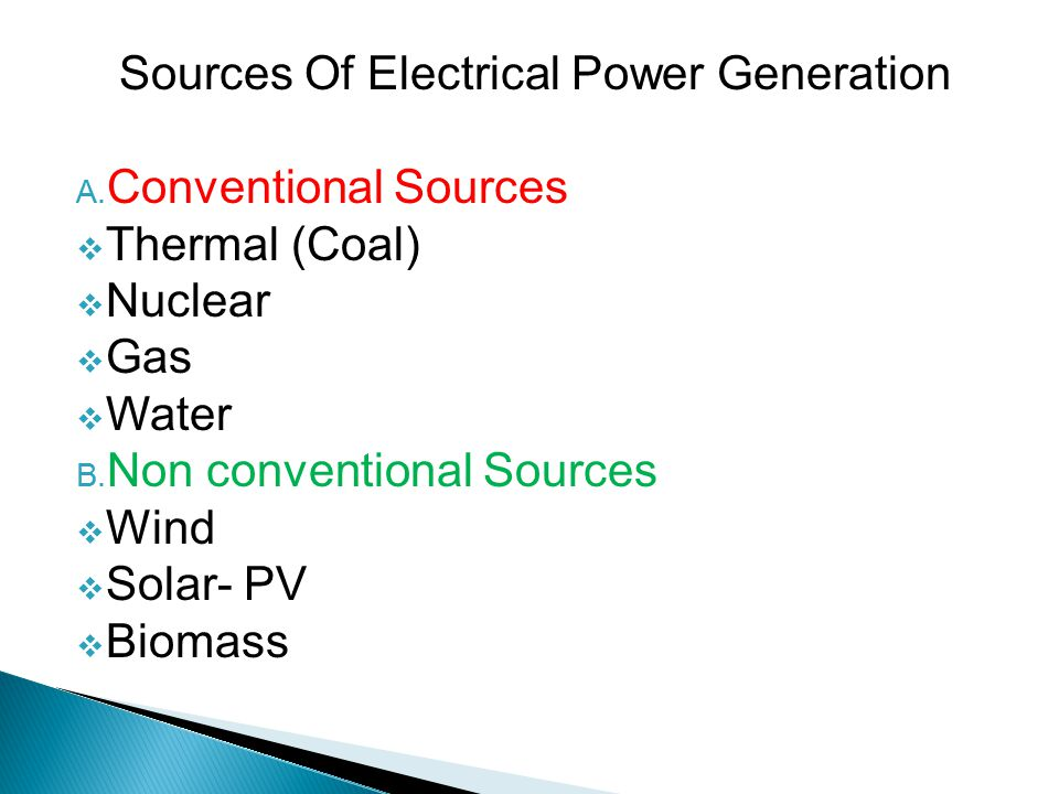 Sources Of Electrical Power Generation