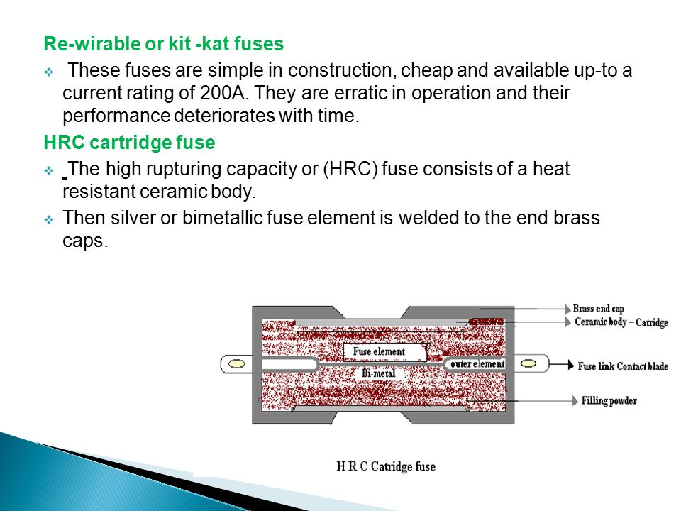 Re-wirable or kit -kat fuses
