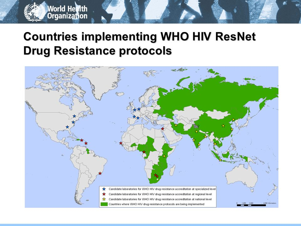 Countries implementing WHO HIV ResNet Drug Resistance protocols