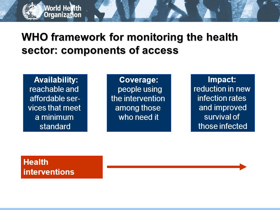 WHO framework for monitoring the health sector: components of access