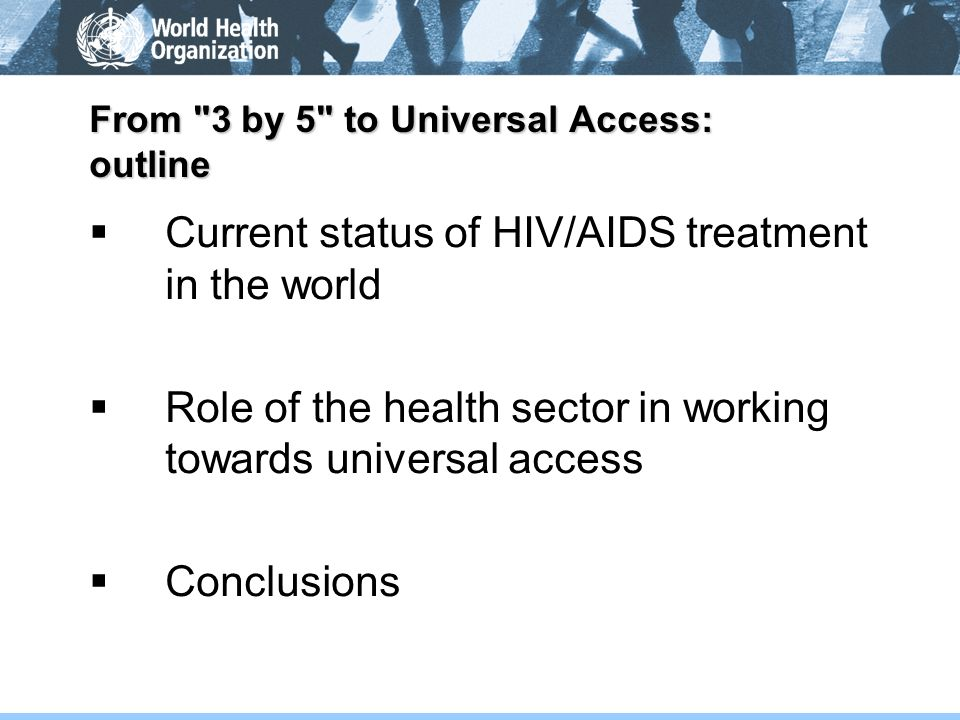From 3 by 5 to Universal Access: outline
