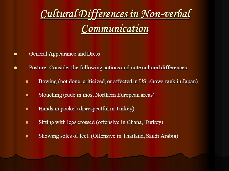 Cultural Differences in Non-verbal Communication