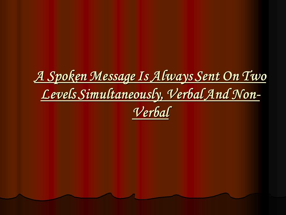 A Spoken Message Is Always Sent On Two Levels Simultaneously, Verbal And Non-Verbal